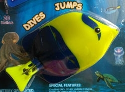 Flashfish Dives & Jumps, Yellow/Blue with Fishing rod