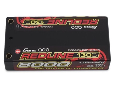 Gens Ace Redline 1S LiHV LiPo Shorty Battery 130C w/4mm Bullets (3.8V/8000mAh)