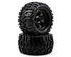 "Trencher 2.8"" All Terrain Tires Mounted for Nitro Stampede Rear, Electric Stampede Front and Stampede 4X4 Front or Rear. Mounted on Desperado Black Wheels SKU: 1170-12"