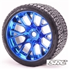 Monster Truck Road Crusher Belted tire Pre-Glued with WHD Blue Chrome wheel