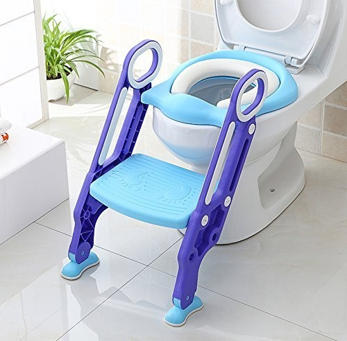 Potty Toilet Seat Adjustable Baby Toddler Kid Toilet Trainer with Step Stool Ladder for Boys and Girls-Blue-Purple Pattern
