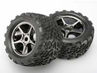 Traxxas Talon Pre-Mounted Tires w/17mm Gemini Wheels (2) (Black Chrome) TRA5374X