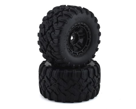 Traxxas Tires & wheels, assembled, glued (black wheels, Maxx All-Terrain tires, foam inserts) (2) ( TRA8972