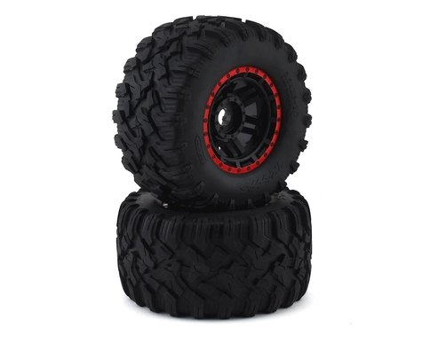 Traxxas Tires & wheels, assembled, glued (black, red beadlock style wheels, Maxx MT tires, foam ins TRA8972R