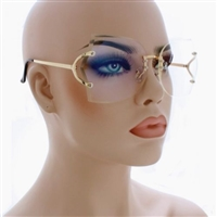 Fashion Oversized Rimless Sunglasses Women Clear Lens Glasses Available