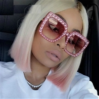 Sunglasses Women Oversized Square Crystal Brand Designer Shades