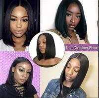 4X4 Closure Bob Wig Brazilian Straight Short Lace Wig Human Hair 150 Density