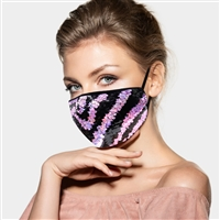 Zebra Pattern Sequin Fashion Mask