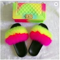 2020 Fashion luxury chain rainbow purse lady colorful bags candy jelly hand bags with real fox fur slides slippers set