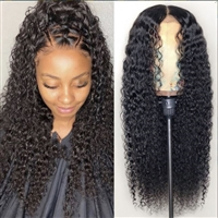Deep Curly 4X4 Transparent Lace Closure Wig Human Hair Wigs Pre Plucked Lace Wigs For Black Women