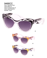 Women's cateye sunglasses with colorful accents.