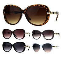 Oversize Diva Designer Jewel Chain Arm Luxury Womens Sunglasses