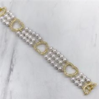 "STERLING SILVER VERMIL PEARL BRACELET 7"" INCHES"