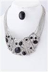 Beaded Metal Statement Necklace