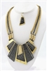 Two Tone Metal Plate Necklace