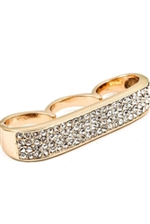 THREE FINGER THICK BAND RHINESTONE RING