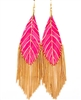 Leaf Earrings With Long Chain