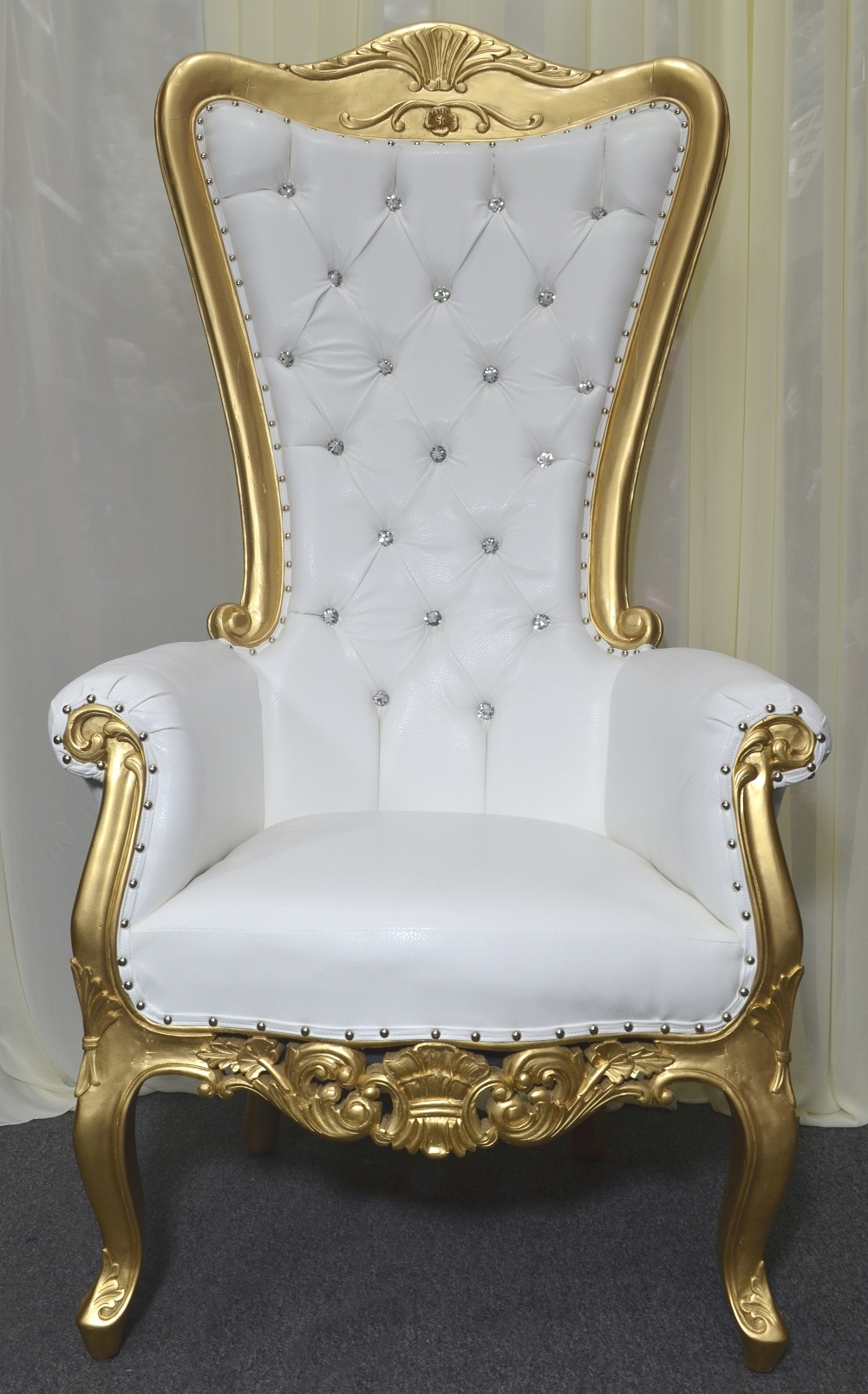 High Back Baroque Carved Party Throne Chair
