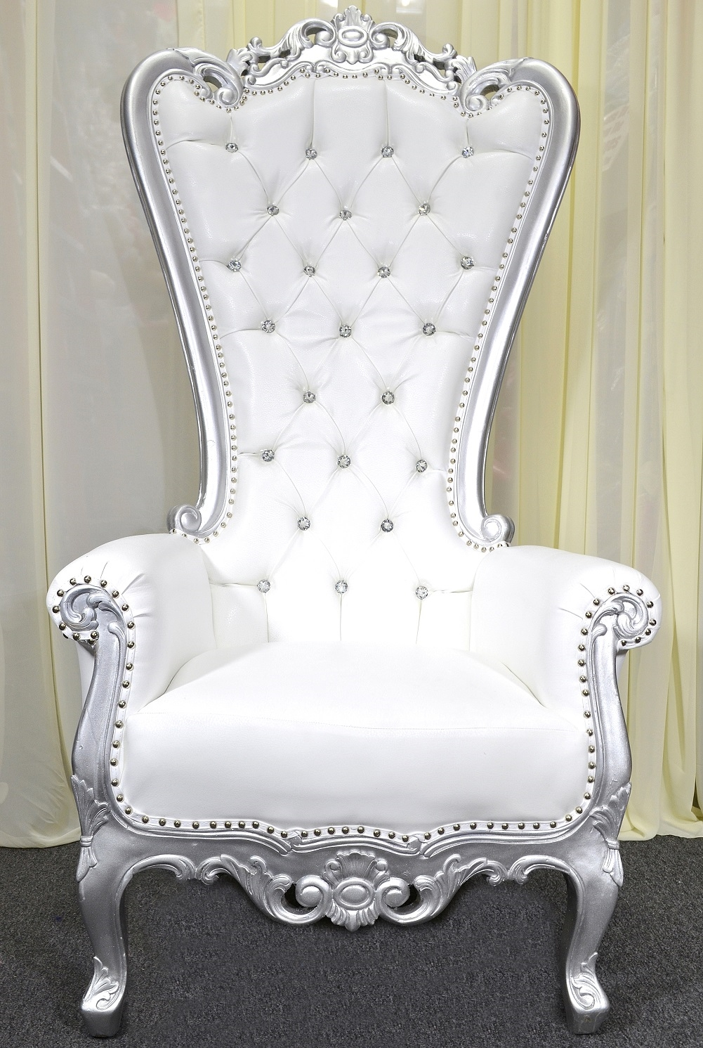 Queen High Back Baroque Carved Party Throne Chair