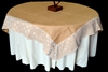Burlap Table Overlay With Lace Edge
