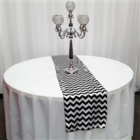 Black and White Satin Chevron Runners