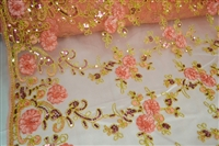 "Floral Mesh Fabric with Sequins 50""/52"""
