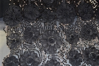 Flower Tulle Mesh Fabric with Sequins