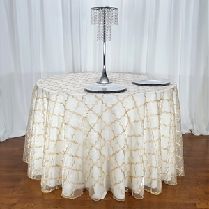 "Moroccan Organza Embroidered Overlays 108"" Round"