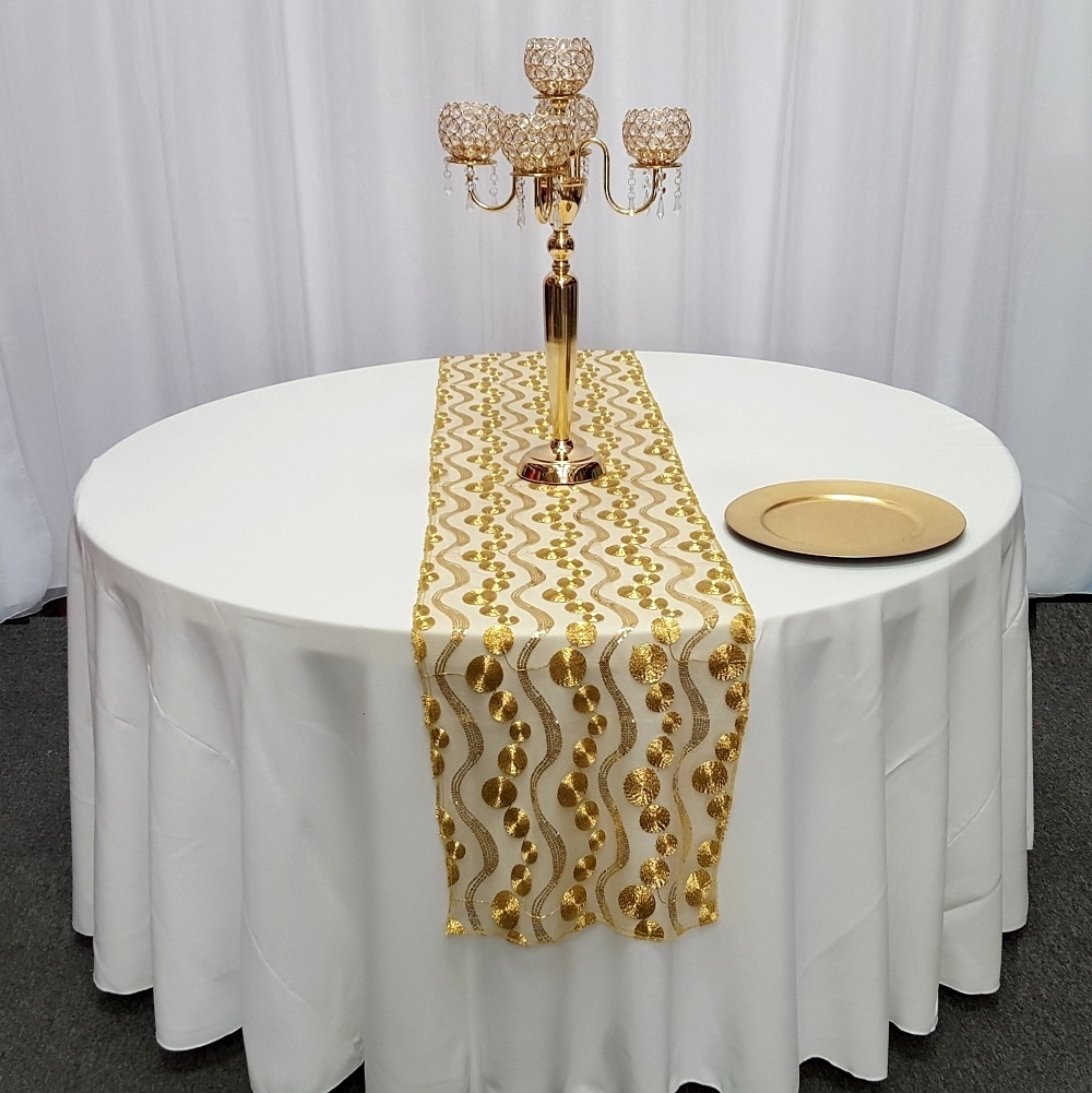 High Quality Circle Embroidered Mesh Table Runners