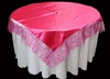 Bridal Satin With Swirl Organza Table Overlay