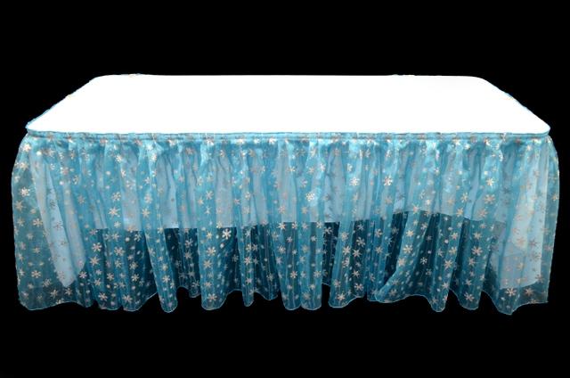 Turquoise Snowflake Glitter Organza Table Skirt