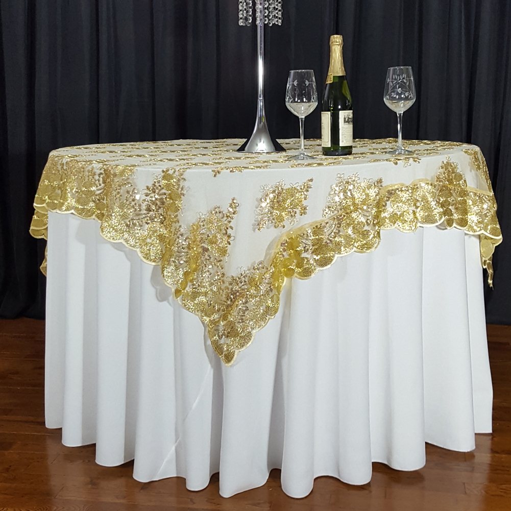 Gold Swirl Sequin Lace 72 X Overlay