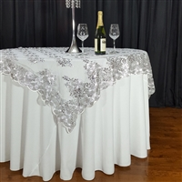 "Silver Swirl Sequin Lace 72"" x 72"" Overlay"