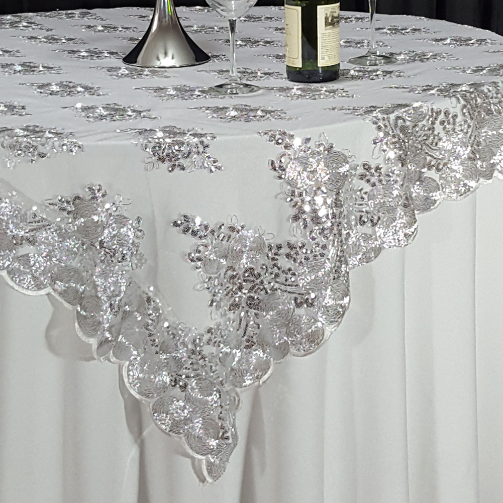 Silver Swirl Sequin Lace 72 Quot X 72 Quot Overlay