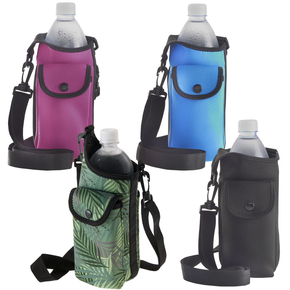 Smooth Trip AquaPockets Neoprene Water Bottle Holder with Adjustable Strap and Phone Case