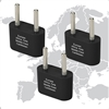 Ungrounded Europe and Asia Adapter Plug - 3 pack