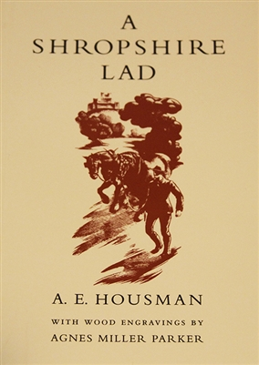 photo of cover of A Shropshire Lad by A. E. Houseman with wood engravings by Agnes Miller Parker, a unique edition approved by The Housman Society with 56 illustrations