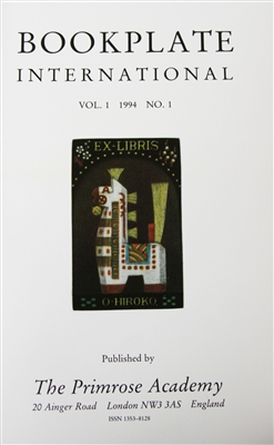 Cover of Bookplate International , Vols 1-11, edited by William E Butler and Maryann Gashi-Butler, The Primrose Academy (1994-2004), journal about bookplates with photographs and illustrations of, and articles about, bookplates as well as book reviews.