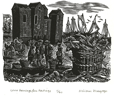 Signed wood engraving by Miriam Macgregor