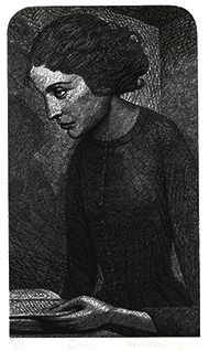 Signed wood engraving by Harry Brockway