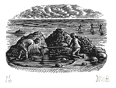 The Engraver's Cut (Diana Bloomfield): Boys Fishing on Beach