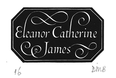 The Engraver's Cut (Diana Bloomfield): Eleanor Catherine James (Bookplate)