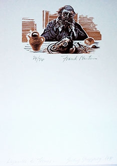 Signed wood engraving by Frank Martin