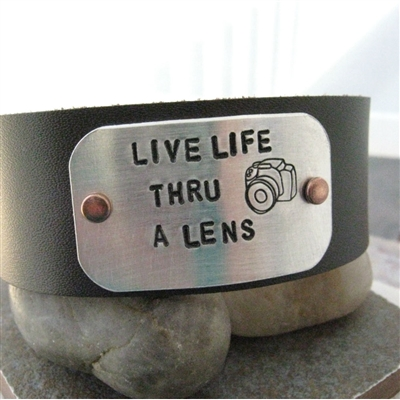 Camera Leather Cuff Bracelet Live Life Thru A Lens