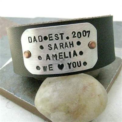 Personalized Fathers Day Bracelet, 1 inch leather cuff