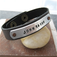 Personalized Bible Verse Leather Cuff Bracelet