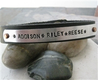 Personalized Mother's Leather Bracelet