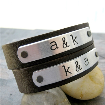 Couples Initials Leather Cuff Bracelets, Personalize these