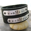 Couples Monogram Leather Cuff Bracelets, Personalize these