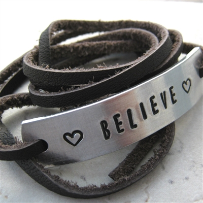 Believe Leather Wrap Bracelet, Hand Stamped